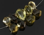 Assorted Smoky, Lemon and Whiskey Quartz Twist Briolettes, Faceted, 6.5-9 x 12-14 mm, Set of 9
