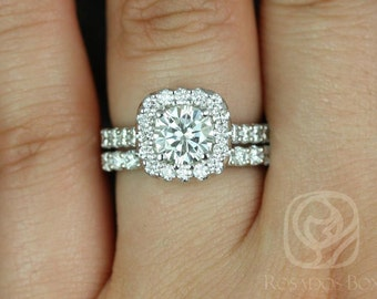Trisha 6.5mm 14kt White Gold Round F1- Moissanite and Diamonds Cushion Halo Wedding Set (Other Metals and Stone Options Available)