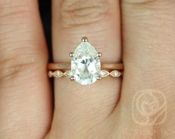 Skinny Jane 10x7mm &Ult Pte Leah 14kt Rose Gold Pear F1- Moissanite Tulip Cathedral Solitaire Wedding Set(Other metals and stones available)