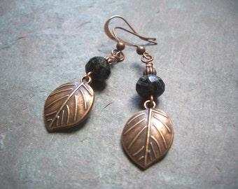 "Antique Copper Leaf Earrings / Czech Glass / Drop / Dangle / Black / Aqua - 2"" long - E43"