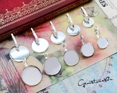 40% off--20pcs Bright Silver 8mm/ 10mm / 12mm / 14mm / 16mm / 18mm / 20mm / 25mm Brass French Earwires Hook With Round Pad