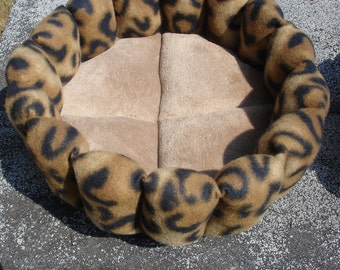 Cat bed, leopard bed, small dog bed, kitty bed, deep bed, round bed, cup bed, pet bed, puppy bed, brown bed, machine washable, dryer safe