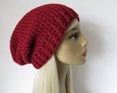 Basic Slouchy Beanie Hat, Mens Women Unisex Hand Knit Crochet Hat, Chunky Winter Wool- Burgundy Red