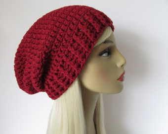 Basic Slouchy Beanie Hat, Mens Women Unisex Hand Knit Crochet Hat, Chunky Winter Wool- Burgundy Red