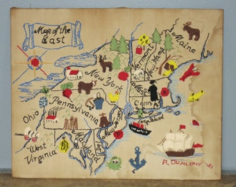 Vintage Embroidery Map of the East