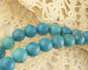6mm Turquoise Color Howlite Veined Beads (30)