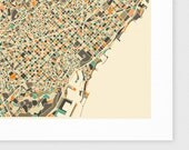 BARCELONA Map, Giclee Fine Art Print Wall Art for the Home Decor