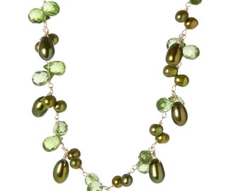 """Gorgeous Green Peridot and Freshwater Pearl Sterling Silver Necklace 16"""""""