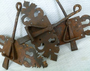 Antique Wrought Iron Latches, 19th Century Latches, Primitive Architectural Hardware