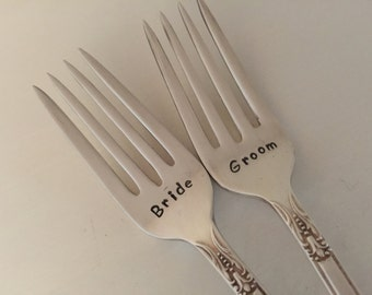 recycled silverware... Bride & Groom Wedding Forks hand stamped bridal accessory