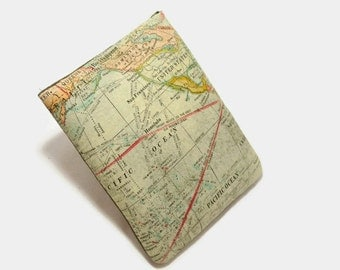 Ready to Ship - Hand Crafted Tablet Case From Atlas/ Map of the World Fabric / for: iPad mini, Kindle Fire HD 7, Samsung Galaxy 7, Nook HD 7