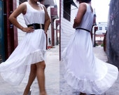 Chiffon Dress flounced Dress irregular Dress swallowtail Hem Dress Tank Dress white dress knit dress