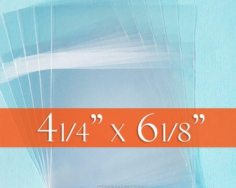 200 4 1/4 x6 1/8 Inch Resealable Cello Bags for 4x6 Cards, Clear Photo Packaging, Acid Free, Self Adhesive, Tape on BODY