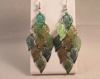 Dangle Earrings with Shades of Green Leaf Charms
