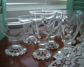 Vintage boopie glass cordials and dessert glassware berwick glass 14 pc set -wedding table serving dining barware replacements