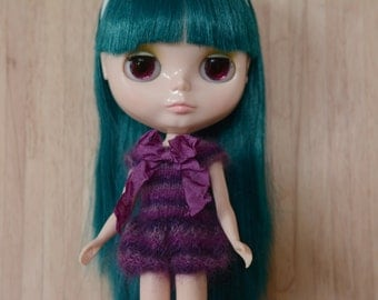 Blythe doll sized purple striped cute mohair knitted romper for Blythe, pullip, dal, licca and similar sized dolls