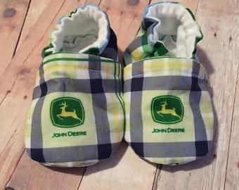 John Deere green plaid baby slipper crib shoes