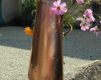 Copper and porcelain grip coal scuttle