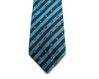 "70s Mens Necktie - Lanvin Paris - 3 1/2"" - 3.5"" - Teal Blue Green with Stripes and Dots - Silk Tie - Striped Necktie - Executive - Statement"