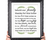 Modern Family Blessing Print, Family Print, Family Rules, Family Wall Decor, Kitchen Decor,Gift for Mom Dad, Vintage Fern Illustration