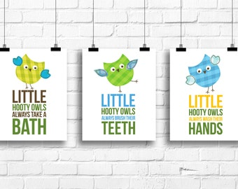 Hooty owls always take a bath, Kids bathroom Decor, Kids Wall Art, Baby Decor, Bathroom rules print, bathroom prints, nursery prints, A-3055