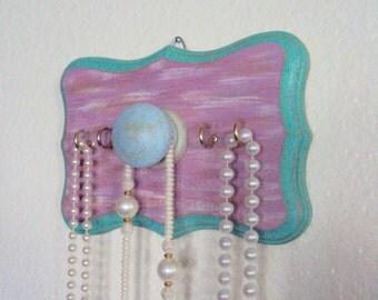 Boho Chic Jewelry Organizer - Bohemian Necklace Holder - Boho Glam Wooden Wall Hanger - Decorative Key Hook - Turquoise Lavender Dorm Decor