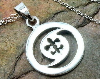 Hurricane Symbol Fleur de Lis Necklace - 925 Sterling Silver - Charm Jewelry NEW