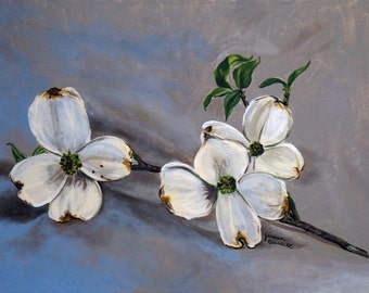 Print Dogwood Blossom on Blue Background Painting