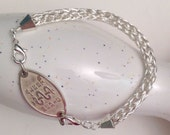 non tarnish silver viking knit bracelet attachment for your medic alert ID tag