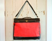 Vintage ELIZABETH ARDEN Red Door Tote Bag Super Large Canvas / Vinyl - Garnet Red Black Patent Leather Waterproof Never Used & Authentic