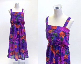 Totally Tropical Dress - Vintage Dress - 70s 80s - Purple Floral Sun Dress