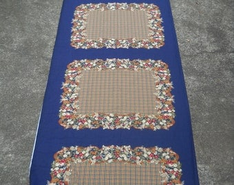 Retro Fabric,  Possible Scarf Panels, Rayon, Navy with Browns and Tans, Red Accent Flowers, Beautiful