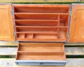 Vintage Desk Organizer - Wood Storage Cabinet, Slots, Nooks, Crannies, Divided Drawer, Stationery, Paper Clips, Stamps, Pens, Pencils