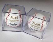Groomsman Gift Idea - Baseball & Acrylic Case  - Engraved or Personalized Baseball - Ring Bearer Gift - Junior Groomsman Gift Idea