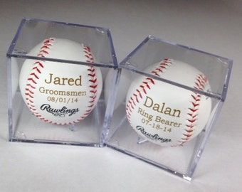 Groomsman Gift Idea - Baseball & Acrylic Case Set of 2 - Engraved or Personalized Baseball - Ring Bearer Gift - Junior Groomsman Gift Idea