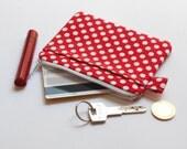 Red Zipper Pouch- Red Polka Dot Coin Purse