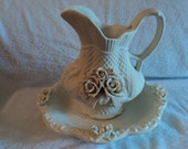 Bowl and pitcher in Bisque-REDUCED