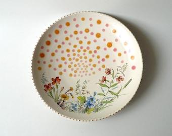 Ceramic Serving Bowl in White with Spring / Summer Flowers and 24k Gold Sparks, Botanical, Gift for Gardener by Cecilia Lind StudioLind