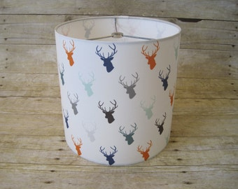 Deer Silhouette Drum Lamp Shade Lampshade - READY TO SHIP