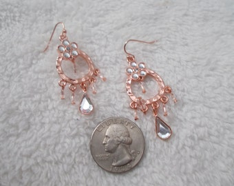 Vintage Retro Pierced Earrings-Copper Dangles-P3882