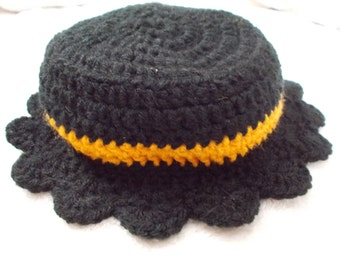 Beautiful Hand Crocheted Little Girl-Baby Bucket Hat-Black N Orange-Halloween