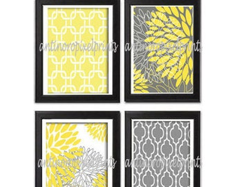 Flowers Yellow Grey Floral Modern inspired Art Prints Collection  -Set of (4) - 5x7 Prints (UNFRAMED)
