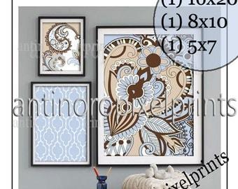 Paisley Brown Light Blue Beige Collage Art Wall Gallery Digital Print  -Set of (3) -  Prints -  16x20, 8x10, 5x7, (UNFRAMED) 240995659