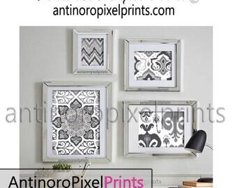 Ikat Greys White Ikat Collage Wall Art Gallery Digital Print -Set of (4) - Prints - 11x14, 8x10, 5x7, 4x6 (UNFRAMED) #245466139