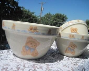 Nesting Bowls, Set of 3 Vintage  Stone Ware Bear Nesting Bowl Set, Nesting bowls, Vintage Bowls, Vintage Kitchen,  :)s*