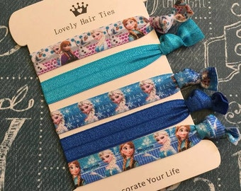 Frozen Elastic Hair Ties- Ponytail Holders- Hair Tie Bracelets - Knotted Ribbon Hair Bands