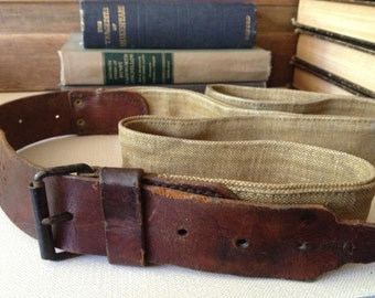 Antique Leather Strap, Made in France, Leather and Khaki Canvas, Military Cargo Belt Strap