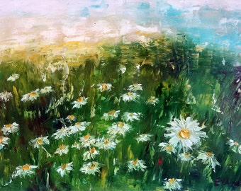 Original Painting - Daisy Fields - Abstract Oil Flowers Palette Knife Painting - Daisies - Contemporary Art Ready To Hang On The Wall