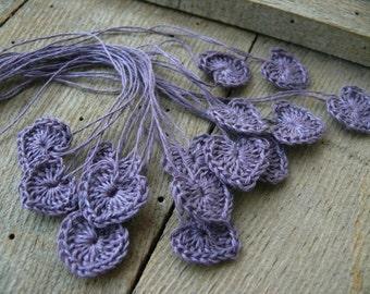 Small wedding favors, crochet tiny lavender hearts, 15 mini hearts, wedding decorations, embellishments, applique, birthday, scrapbooking