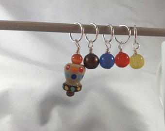 Knitting supplies, stitch markers, polka dots, handpainted bead, beaded stitch markers, set of five